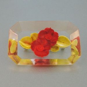 Jewelry - Vintage Reverse Carved Lucite Roses Pin